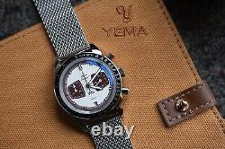 Brand-New Yema Rallygraf Chronograph Brown Panda + Yema Watch Roll