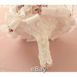 Bridal Wedding Bouquet Flower Crystal Preal Silk Rose Brooch HANDMADE Decor New