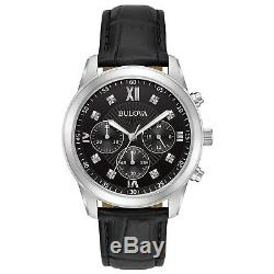 Bulova Men's 96D134 Quartz Chronograph Black Dial Black Leather Strap 40mm Watch