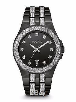 Bulova Men's 98B251 Swarovski Crystal Accents Quartz Black Bracelet 42mm Watch