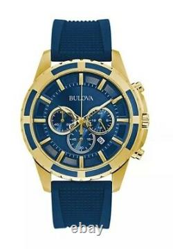 Bulova Men's Quartz Chronograph Date Indicator Blue Dial 44mm Watch 97B193