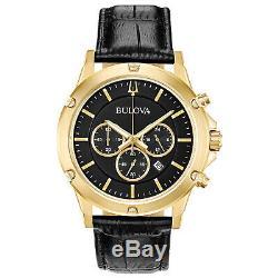 Bulova Men's Quartz Chronograph Gold Tone Black Multi Dial 42mm Watch 97B179