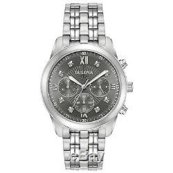Bulova Men's Quartz Grey Dial Chronograph Silver-Tone Bracelet 40mm Watch 96D135