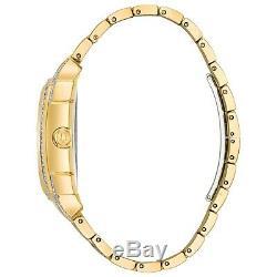 Bulova Men's Quartz Swarovski Crystals Pave Dial Two Tone 35mm Watch 98C109