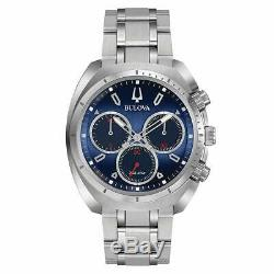 Bulova Men's Watch Curv Chronograph Blue Dial Silver Tone Bracelet 96A185