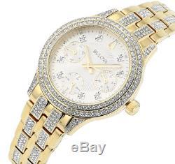 Bulova Women's 98N112 Quartz Crystal Accents Gold-Tone Bracelet 33mm Watch