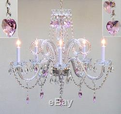 CHANDELIER LIGHTING With CRYSTAL PINK HEARTS FREE S/H