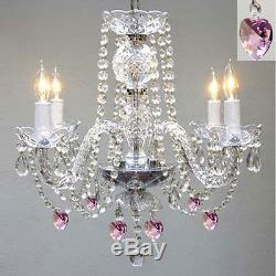 CHANDELIER LIGHTING With CRYSTAL PINK HEARTS! H 17 W17