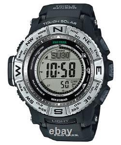 Casio Pro Trek Men's Tough Solar Atomic Black Resin Band 53mm Watch PRW3500-1