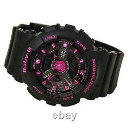 Casio Women's Watch Baby-G World Timer Black and Pink Dial Resin Strap BA111-1A
