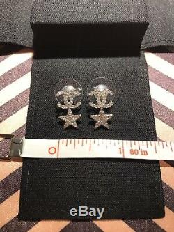 Chanel Brand New Silver CC Starfall Crystal Piercing Earrings 20P Collection