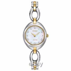 Citizen Eco-Drive Women's Silhouette Crystals Two-Tone 24mm Watch EX1434-55D