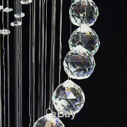 Clear Crystal Glass Chandelier Spiral Sphere Pendant L180cm Ceiling Fixtures