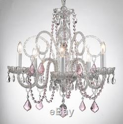 Crystal Chandelier Chandeliers Lighting With Pink Color Crystal