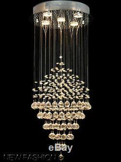 Crystal Glass Diamond Rain Drop 5-Light Ceiling Fixtures Chandelier