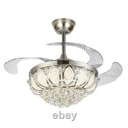 Crystal LED Chandelier Invisible Ceiling Fan Light Ceiling Lamp with Remote Silver