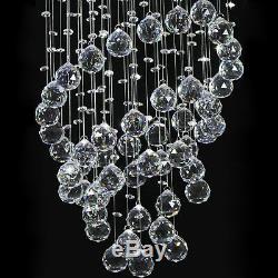 Crystal Lamp Chandelier Ceiling Flush Mount Spiral Fixture Silver Living Room