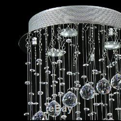 Crystal Lamp Chandelier Ceiling Flush Mount Spiral Fixture Silver Living Room