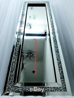 Diamond Crush Crystal Dressing Silver Sparkly Full Length Wall Mirror 120X40cm