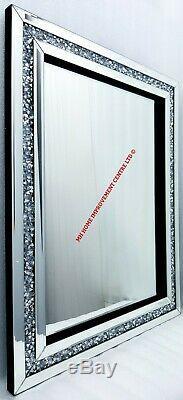 Diamond Crush Crystal Sparkly Silver Wall Mirror 60X80cm Bevelled Rectangular