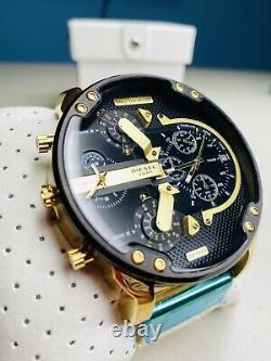 Diesel Mr. Daddy 2.0 Black Gold Chronograph Time Zone Men's Watch-DZ7333