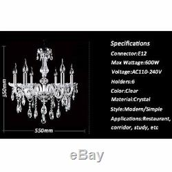 E12 Crystal Chandelier Ceiling Lamp Pendent Light Glass Beads 6 Candle Lights US