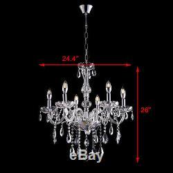 Elegant Clear Crystal Chandelier Pendant Lighting 6 Lights Fixture Ceiling Lamp