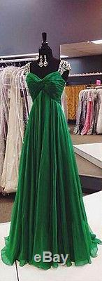 Emerald Green Chiffon Evening Dresses Formal Crystal Long Party Prom Bridal Gown