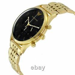 Emporio Armani Mens Watch Ar1893 Gold New Original Chronograph Certificate