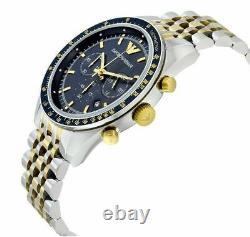 Emporio Armani Mens Watch Ar6088 Tazio Gold Chronograph Certificate New Original