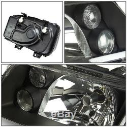 FOR 99-05 VW JETTA MK4 BLACK HOUSING CRYSTAL HEADLIGHT REPLACEMENT WithFOG LAMPS