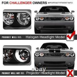 FOR HALOGEN MODEL For 08-14 Dodge Challenger CCFL ANGEL EYE Black Headlight