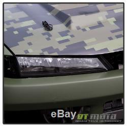 Fits 1997-1998 240SX S14 Kouki JDM Black Crystal Headlights Lights Lamps 97-98