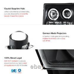 For 07-13 GMC Sierra 1500 2500HD 3500HD Black LED Angel Eye Projector Headlight