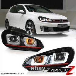 For 10-14 Volkswagen MK6 GTI GOLF Sportwagon OLED Neon Tube Red Headlights Pair