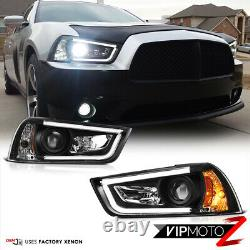 For 11-14 Dodge Charger HID MODEL Halo Angel Eyes LED Projector Black Headlight