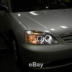 For 2001-2003 Honda Civic LED Halo Crystal Clear Projector Headlights Left+Right