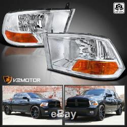 For 2009-2019 Ram 1500 2500 3500 Crystal Clear Headlights Head Lamps Left+Right
