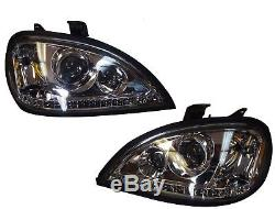 Freightliner Columbia Headlight LED Stripe Crystal Pair Set Left Right Projector