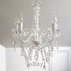 French Provincial Vintage CHANDELIER 5 Light White with Glass Crystals &Bobeches