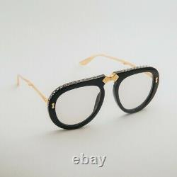 GUCCI 0307 Gold Black Light Blue Crystal Foldable Aviator Sunglasses GG0307S