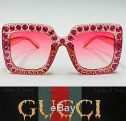 GUCCI Women's Ladys GG0148S 003 Pink Crystal Gradient Sunglasses 53mm