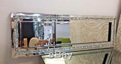 Gatsby Crushed Diamond Crystal Glass Silver Frame Bevelled Wall Mirror 120x40cm
