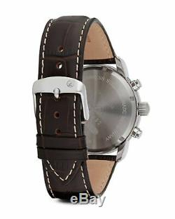 Graf Zeppelin Chronograph & Alarm Stainless Steel & Brown Leather Watch 7680-1