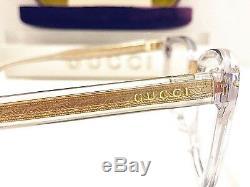Gucci Eyeglasses GG0184O 005 Women's Transparent Crystal, Gold Rx Frame 50mm New