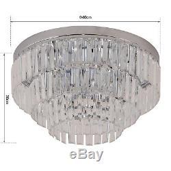 HOMCOM Crystal Light Ceiling Lamp Chandelier Hallway Flush Living Room