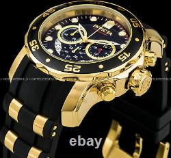 Invicta 48mm Mens Pro Diver Scuba Chronograph Black Dial Gold Plated SS PU Watch