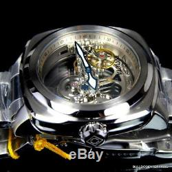 Invicta Aviator Ghost Bridge Automatic Skeleton Silver Steel 48mm Watch New