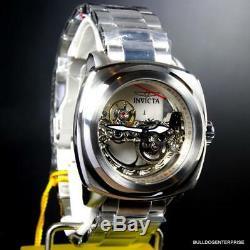 Invicta Aviator Ghost Bridge Automatic Skeleton Silver Steel 48mm Watch New