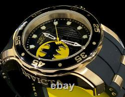 Invicta BATMAN PRO DIVER SCUBA Lt Ed 18Kt Gold Plated Black Dial Strap Men Watch